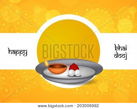 illustration of plate and lamp with happy Bhai Dooj text on the occasion of Hindu festival Bhai Dooj celebrated in India