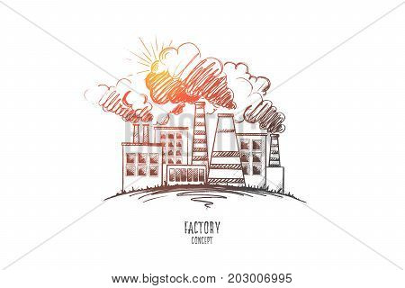 Factory concept. Hand drawn chemical plant urban landscape. Modern factory outside view isolated vector illustration.