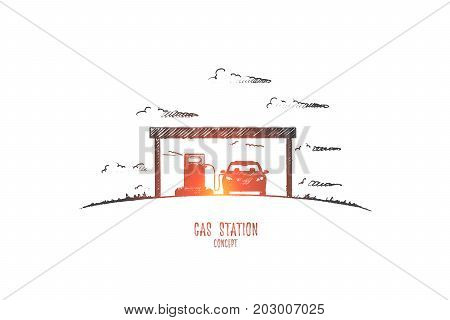 Gas station concept. Hand drawn car in gas station. Pumping gasoline fuel in car at gas station isolated vector illustration.