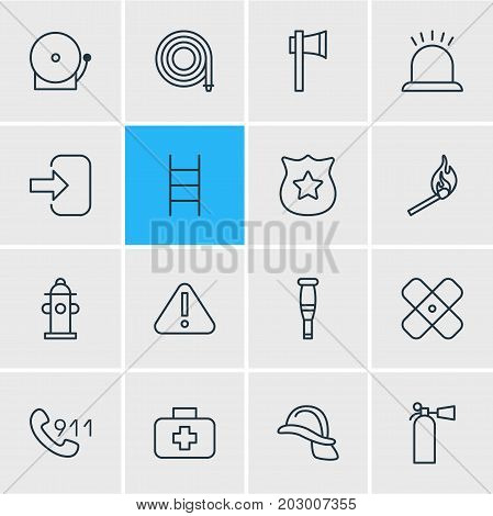 Editable Pack Of Ax, Adhesive, Hardhat And Other Elements.  Vector Illustration Of 16 Necessity Icons.