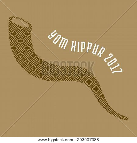 Yom kippur 2017 with shofar horn for rosh Hashanah, Israel new year, flat design