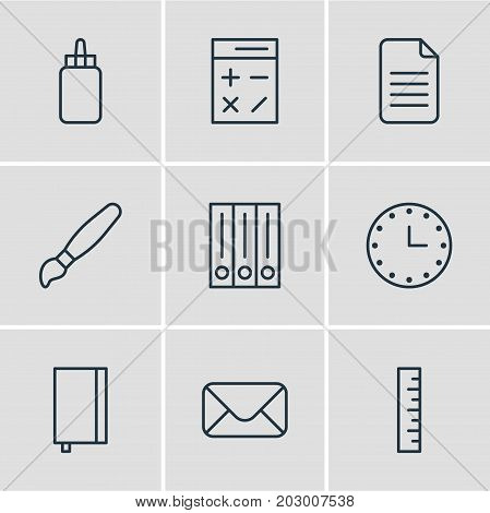 Editable Pack Of Paint, Watch, Adhesive And Other Elements.  Vector Illustration Of 9 Tools Icons.