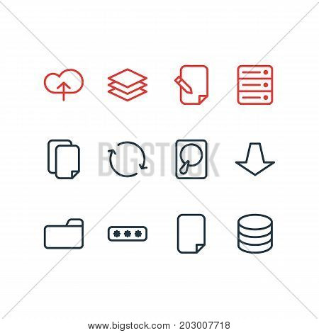 Editable Pack Of Downward, Upload, Documents And Other Elements.  Vector Illustration Of 12 Archive Icons.