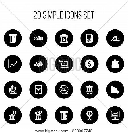 Set Of 20 Editable Investment Icons. Includes Symbols Such As Arrow, Increase Dollar, Payment And More