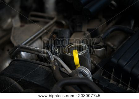 Yellow dipstick for checking the oil level of the car
