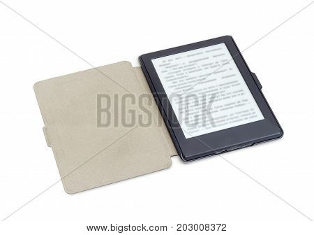Ebook reader in an open e-reader case on a white background