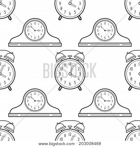 Alarm clock and mantel clocks. Black and white seamless pattern for coloring books, pages. Vector illustration.