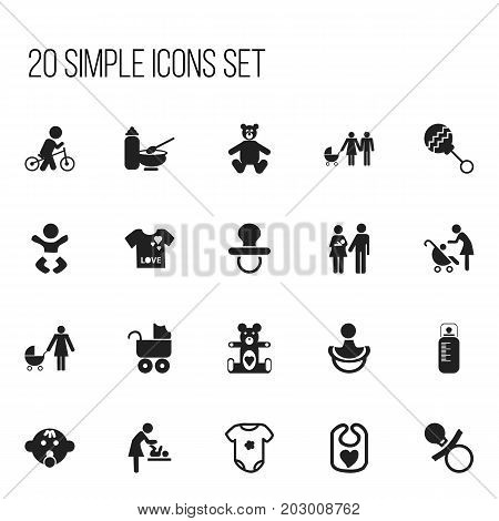 Set Of 20 Editable Kid Icons. Includes Symbols Such As Changing Cloth Infant, Velocipede, Preambulator And More