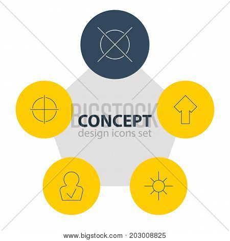 Editable Pack Of Positive, Upward, Cancel And Other Elements.  Vector Illustration Of 5 UI Icons.