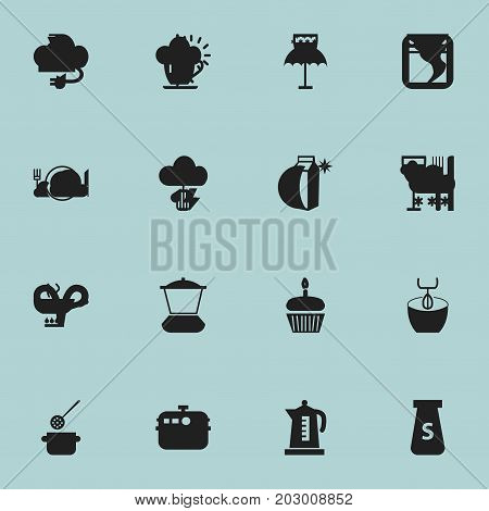 Set Of 16 Editable Cooking Icons. Includes Symbols Such As Stewpot, Electric Kettle, Goblet And More