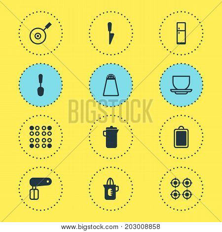Editable Pack Of Furnace, Tablespoon, Kitchen Dagger And Other Elements.  Vector Illustration Of 12 Kitchenware Icons.