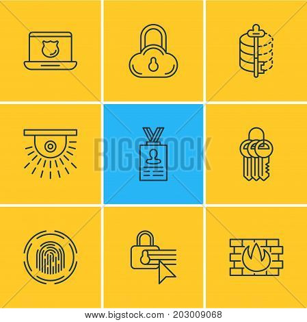 Editable Pack Of Key Collection, Data Security, Encoder And Other Elements.  Vector Illustration Of 9 Protection Icons.