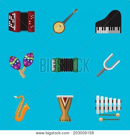 Set Of 9 Editable Song Flat Icons. Includes Symbols Such As Sticks, Range, Instrument And More