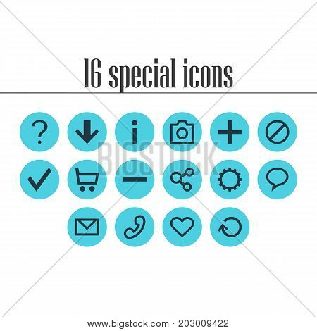 Editable Pack Of Renovate, Info, Talk Bubble And Other Elements.  Vector Illustration Of 16 Interface Icons.