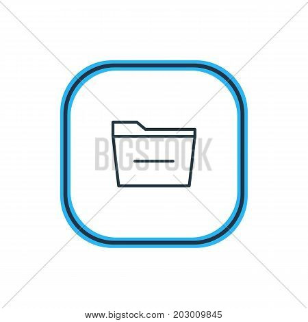 Beautiful Workplace Element Also Can Be Used As Deleting Folder Element.  Vector Illustration Of Minus Outline.