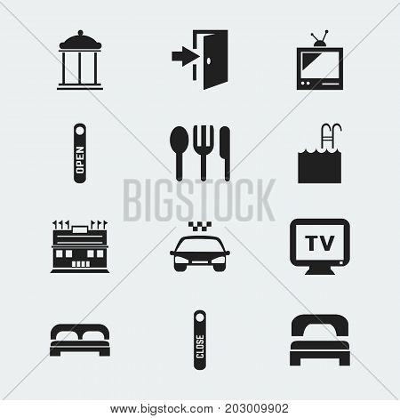 Set Of 12 Editable Plaza Icons. Includes Symbols Such As Door Closed, Monitor, Residence And More