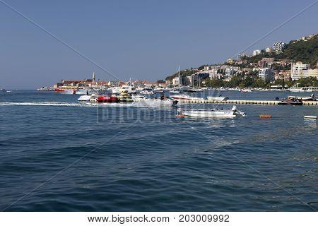 BUDVA, MONTENEGRO - AUGUST 07, 2017:Coast of the city of Budva Montenegro.