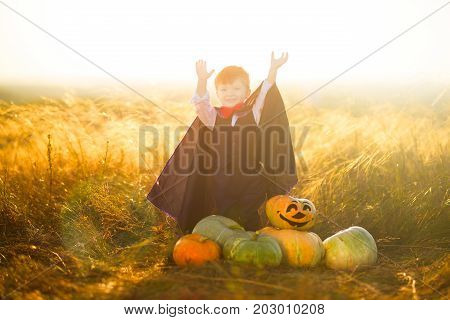 Portrait Of A Little Boy Dressed As A Dracula Outdoors In A Pumpkin Patch On Sunset Background. Hall