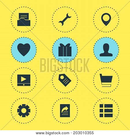Editable Pack Of Trolley, Settings, Document Directory And Other Elements.  Vector Illustration Of 12 Internet Icons.