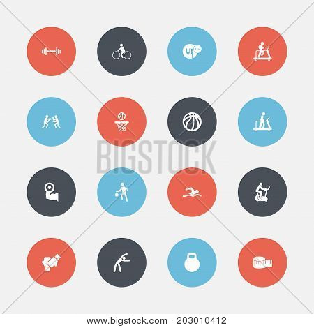 Set Of 16 Editable Exercise Icons. Includes Symbols Such As Gauntlet, Training Bicycle, Jogging And More
