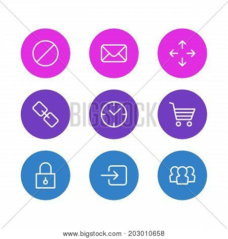 Editable Pack Of Url, Group, Letter And Other Elements.  Vector Illustration Of 9 App Icons.