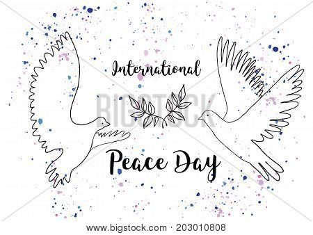 Holiday greetings illustration International Peace Day. Vector illustration for you. Modern fashion trend design.