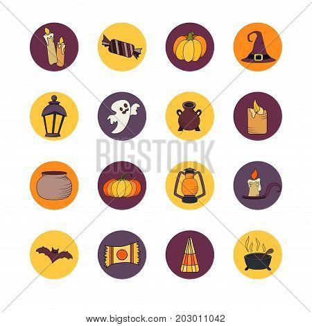 Vector goast, pumpkin, hat icons. Set of hallowen elements. Spooky illustration