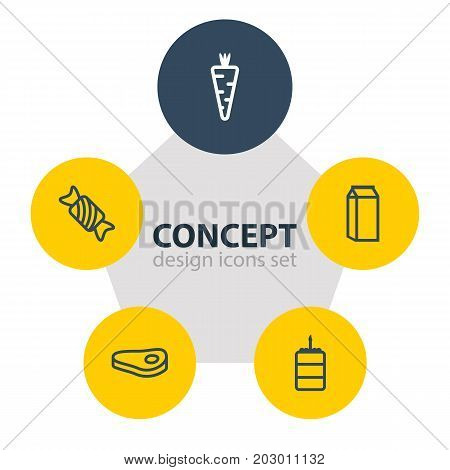 Editable Pack Of Pastry, Sirloin, Veggie And Other Elements.  Vector Illustration Of 5 Meal Icons.