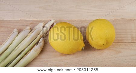 Lemon And Lemongrass On Wooden Background. Healthy Lifestyle. Detox
