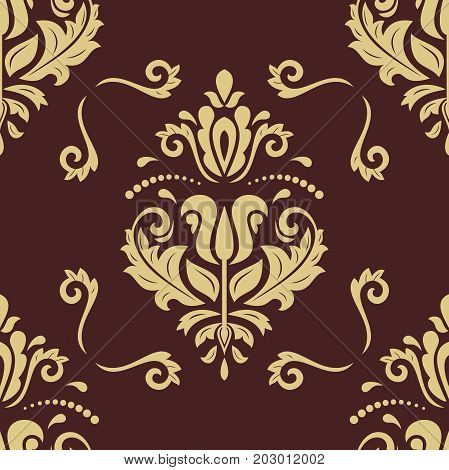 Orient vector classic brown and golden pattern. Seamless abstract background with repeating elements. Orient background