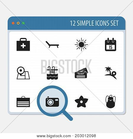 Set Of 12 Editable Travel Icons. Includes Symbols Such As Basin, Trading Purse, Date Block And More