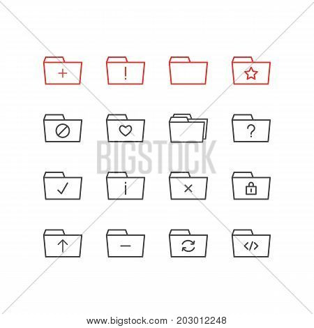 Editable Pack Of Plus, Important, Locked And Other Elements.  Vector Illustration Of 16 Folder Icons.