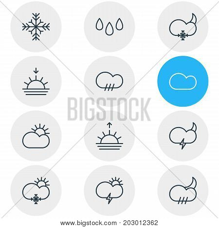 Editable Pack Of Drip, Snowflake, Sunrise And Other Elements.  Vector Illustration Of 12 Sky Icons.