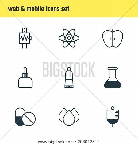 Editable Pack Of Medicament Pitcher, Heartbeat, Antibiotic And Other Elements.  Vector Illustration Of 9 Medical Icons.