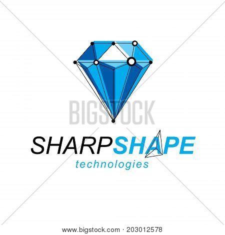 Technology conceptual emblem. 3D design abstract vector faceted shape.