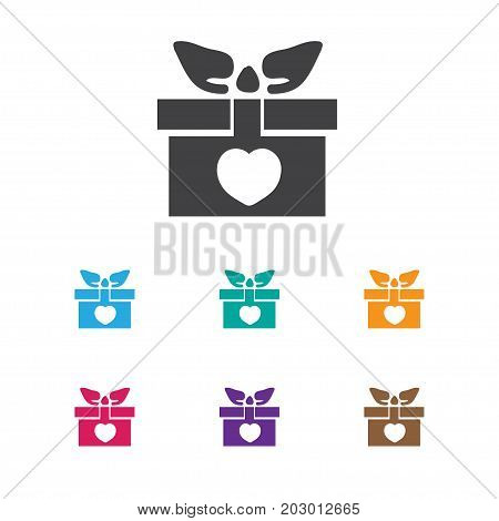 Vector Illustration Of Amour Symbol On Gift Icon