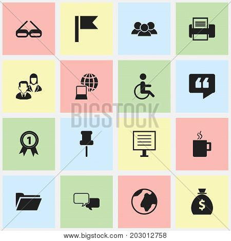Set Of 16 Editable Bureau Icons. Includes Symbols Such As Display, Handicapped, World