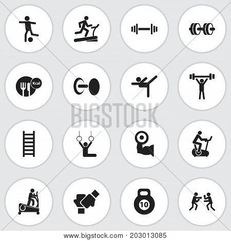 Set Of 16 Editable Exercise Icons. Includes Symbols Such As Fight, Crossbar, Gauntlet And More
