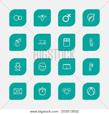 Set Of 16 Editable Folks Outline Icons. Includes Symbols Such As Hour, Perambulator, Daddy And More