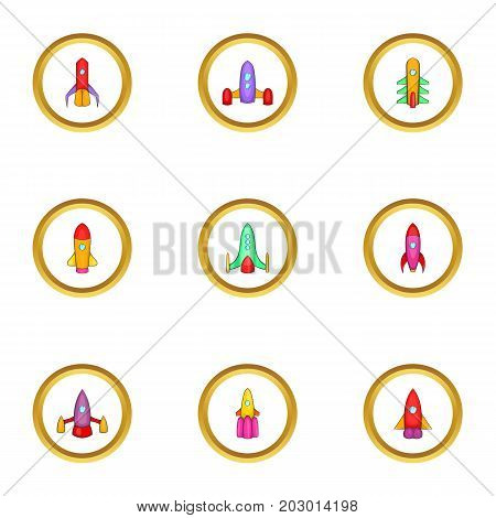 Spaceship icons set. Cartoon set of 9 spaceship vector icons for web isolated on white background