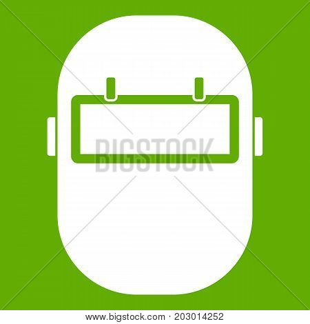 Welding mask icon white isolated on green background. Vector illustration