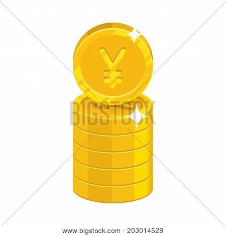 Column gold Chinese yuan or Japanese yen isolated cartoon icon. Heap of gold yuan or yen and yuan or yen signs for designers and illustrators. Gold stacks of pieces vector illustration