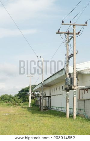 Electrician Repair Of Electric Poles Power System.