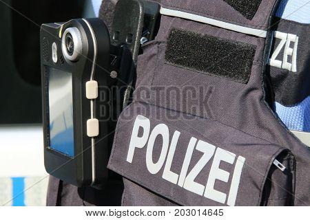 MAGDEBURG - SEPTEMBER 4, 2017: New body camera for the police in Saxony-Anhalt, Germany.