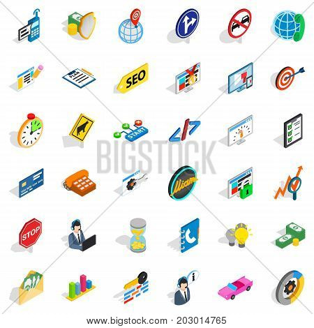 Shield icons set. Isometric style of 36 shield vector icons for web isolated on white background
