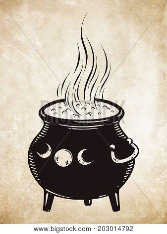 Boiling magic cauldron vector illustration. Hand drawn wiccan design astrology alchemy magic symbol or halloween design.
