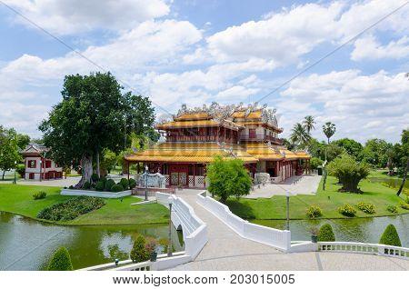 Chinese style palace at Bangpain palace in Ayuthaya, Thailand