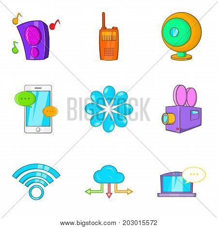 Cinema app icons set. Cartoon set of 9 cinema app vector icons for web isolated on white background