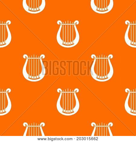 Harp pattern repeat seamless in orange color for any design. Vector geometric illustration