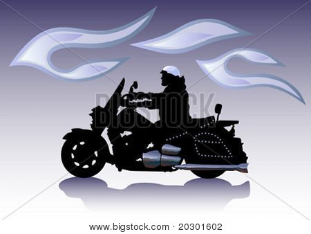 Vector graphic motorcycle on Chrom.